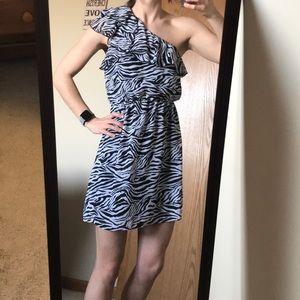Zebra Print One Shoulder Dress